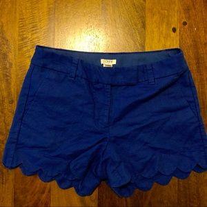 J. Crew Linen Scalloped Shorts